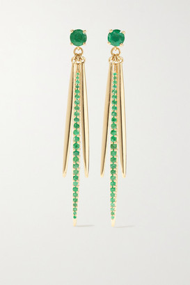 Ileana Makri Grass Leaf 18-karat Gold Emerald Earrings