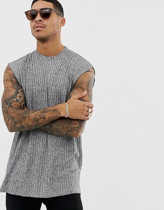 ASOS DESIGN oversized sleeveless t-shirt in interest rib