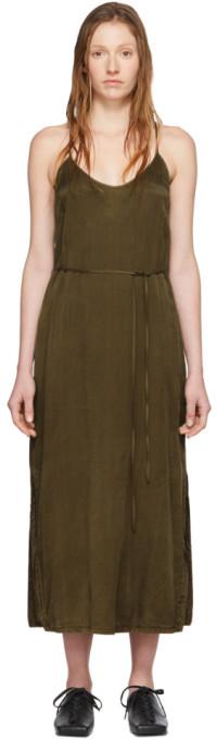 Raquel Allegra Khaki Simple Slip Dress