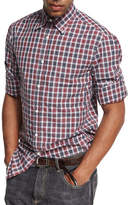 Brunello Cucinelli Madras Plaid Cotton Oxford Shirt, Red