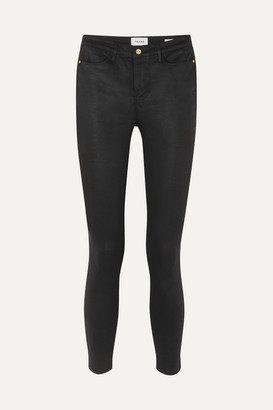 Frame Le High Coated High-rise Skinny Jeans - Black