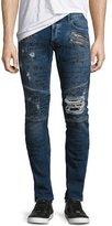 Just Cavalli Graffiti Moto Skinny Jeans, Blue