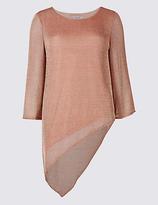 Per Una Metallic Asymmetric 3/4 Sleeve Tunic
