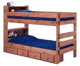 Chavarria Twin Over Twin Bunk Bed with Bookcase and Drawers Harriet Bee Bed Frame Color: Mahogany Stain