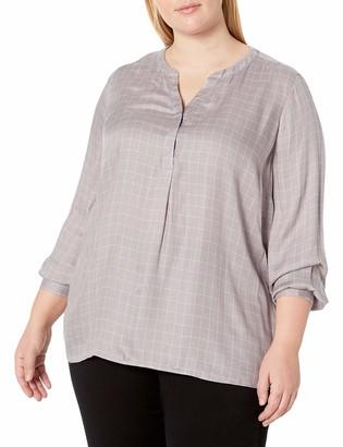 NYDJ Women's Plus Size Twill Henley