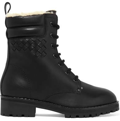 Bottega Veneta Shearling-lined Intrecciato Leather Ankle Boots - Black