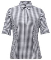 BOSS Patterned slim-fit blouse in a cotton blend