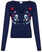 Yumi V-Neck Cardigan with Embroidered Front