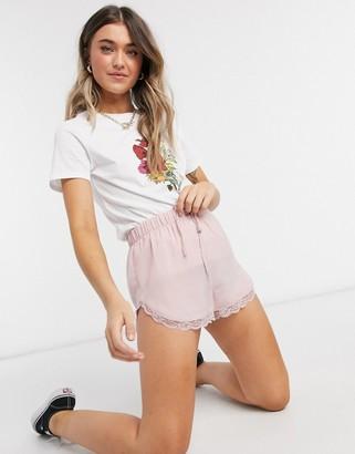 Miss Selfridge lace trim shorts in blush