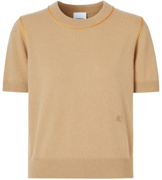 Burberry Cashmere-Silk Short-Sleeved Sweater