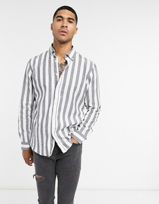 Selected shirt in white with wide stripe