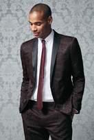 Mens Next Purple Skinny Fit Jacquard Tuxedo Suit: Jacket - Purple