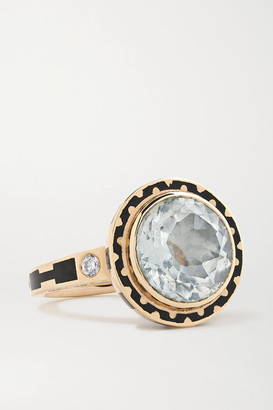 Alice Cicolini Candy 14-karat Gold, Enamel, Topaz And Diamond Ring - 6