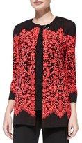 Misook Lace-Print Long Jacket, Plus Size