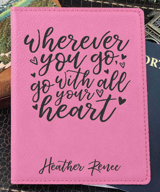 Stamp Out Online Passport Holders pink - Pink 'Go With All Your Heart' Personalized Passport Cover