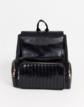 Asos Design DESIGN quilted backpack with rose gold zips-Black