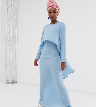 Verona long sleeve layered maxi dress in blue