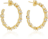 Fallon Gold-Tone Brass And Crystal Hoop Earrings