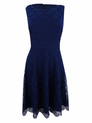 Jessica Simpson Women's Solid Lace Fit and Flare Dress