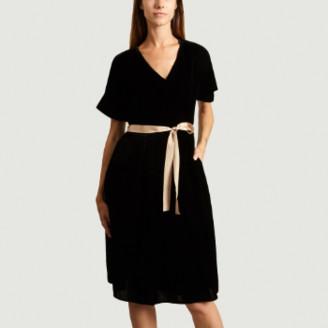Bellerose Black Blue Viscose Velvet Hoek Dress - 1 | viscose | Black Blue