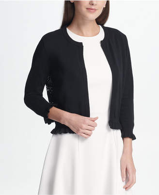 DKNY Open Front Cardigan with Lace Back