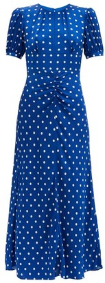 Self-Portrait Polka-dot Satin Midi Dress - Blue