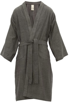 Marrakshi Life - Striped Cotton-blend Bathrobe - Black Grey
