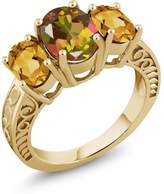 Gem Stone King 3.00 Ct Mango Mystic Topaz Yellow Citrine 18K Yellow Gold Plated Silver Ring