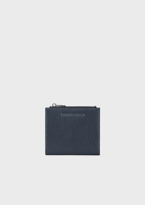 Emporio Armani Tumbled Leather Coin Purse With Embossed Logo