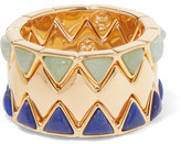 Tory Burch Puzzle Set Of Three Gold-Tone And Enamel Rings