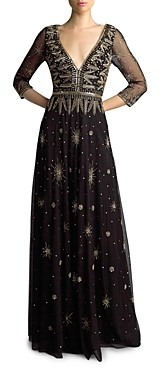 Basix II Three-Quarter Sleeve Beaded Gown