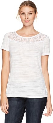 Hanes Women's Short Sleeve Peasant Lace Tee