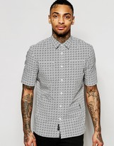 Religion Short Sleeve Shirt with All Over Mini Floral Print