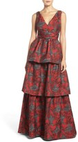 Adrianna Papell Tiered Jacquard Gown