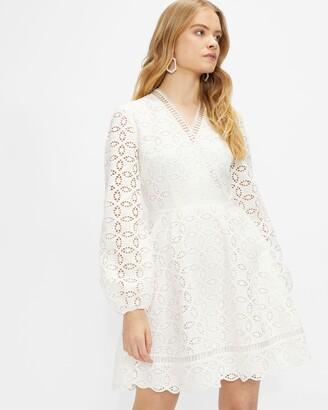 Ted Baker Broderie Long Sleeve Mini Dress