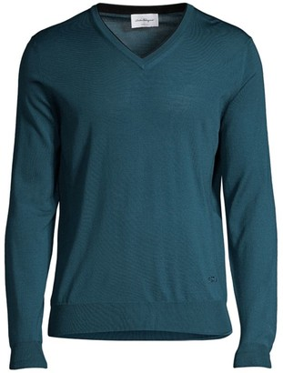 Salvatore Ferragamo V-Neck Virgin Wool Sweater
