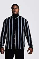 BoohoomanBoohooMAN Mens Black Big & Tall Stripe Print Shirt, Black