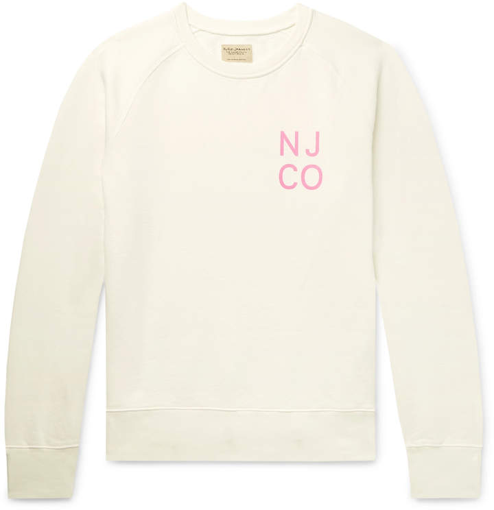Nudie Jeans Melvin Logo-Print Organic Loopback Cotton-Jersey Sweatshirt - Men - White