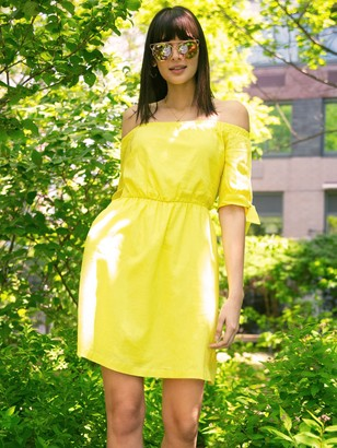New York & Co. Linen-Blend Off-The-Shoulder Shift Dress