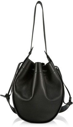 The Row XL Drawstring Leather Hobo Pouch