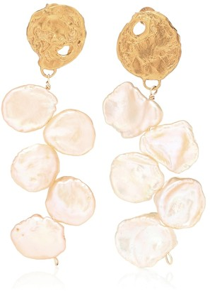 Alighieri La Jetee 24kt gold-plated earrings with cornflake pearls