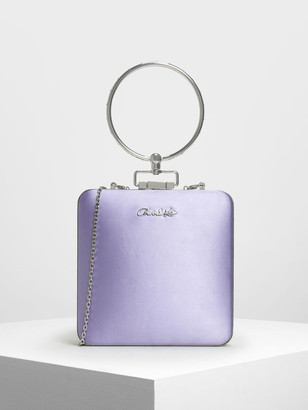 Charles & Keith Satin Push Lock Bracelet Clutch