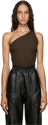 MATÉRIEL Brown One Shoulder Tank Top