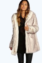 Boohoo Boutique Lois Hooded Faux Fur Coat cream
