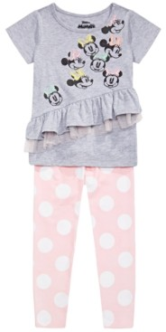 Disney Little Girls 2-Pc. Ruffled Minnie Mouse Top & Printed Leggings Set