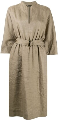 Loro Piana Belted Linen Midi Dress
