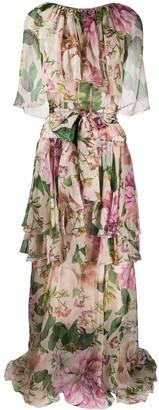 Dolce & Gabbana Floral Print Draped Evening Dress
