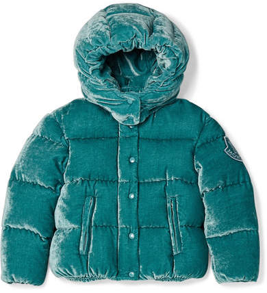 Moncler Ages 4 - 6 Caille Hooded Quilted Velvet Down Jacket