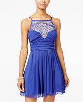 B. Darlin Juniors' Embellished Ruched Fit & Flare Dress