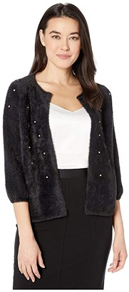 Nic+Zoe Petite Rhinestone Cardy (Black Onyx) Women's Sweater